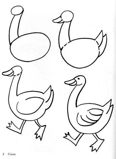 Как нарисовать гуся ребенку