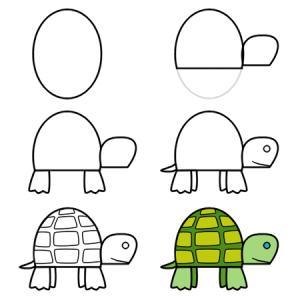 Как нарисовать черепаху ребенку